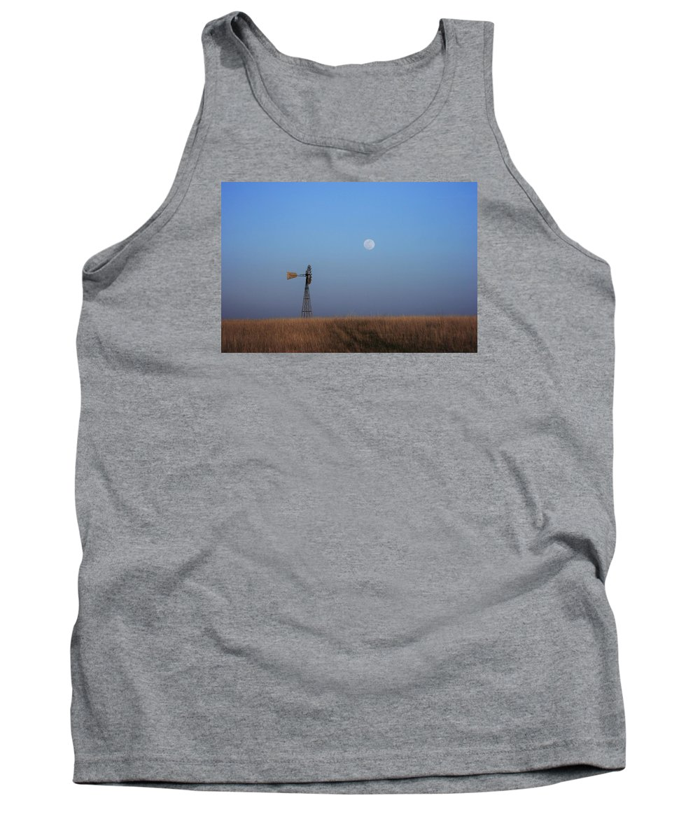 Landscape Tank Top featuring the photograph Windmill And Full Moon by Val Conrad