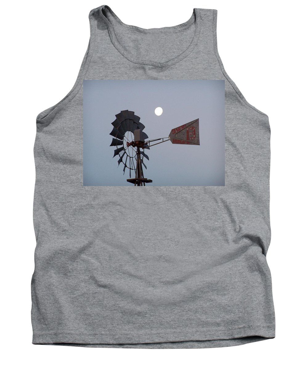 Windmill Tank Top featuring the photograph Windmill Moon by Gale Cochran-Smith
