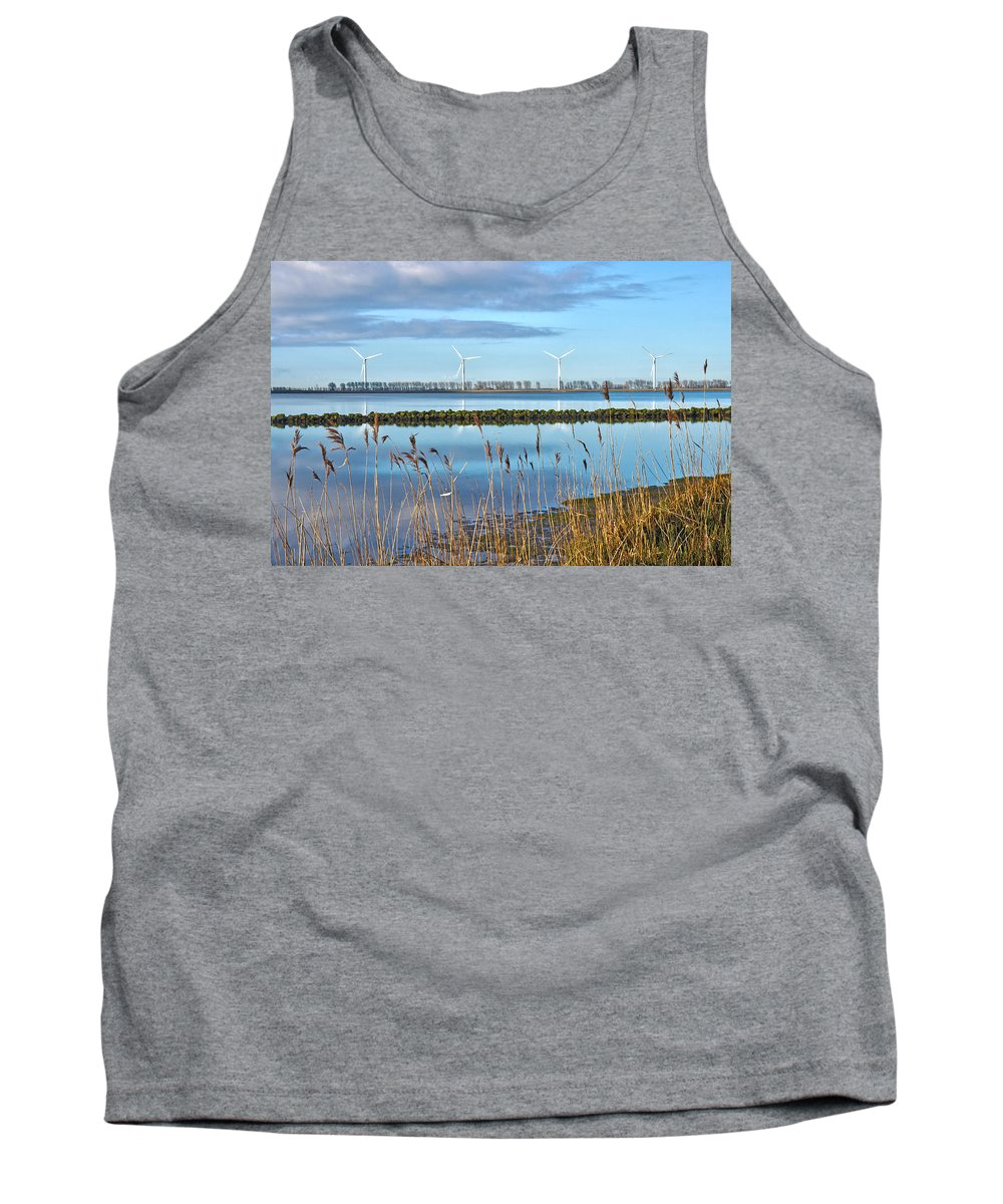 Wind Tank Top featuring the photograph Windmills On A Windless Morning by Frans Blok