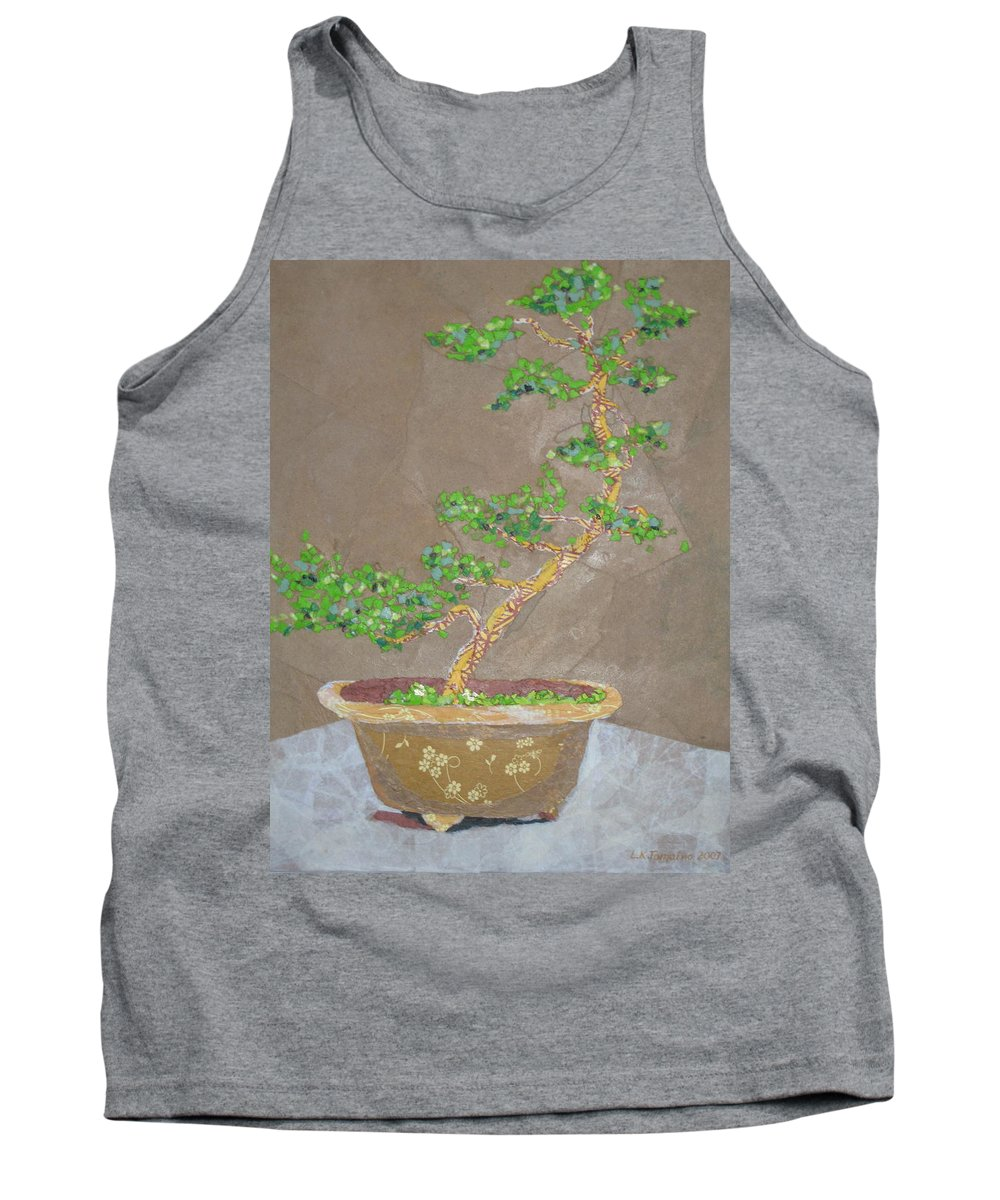 Banzai Tree Tank Top featuring the painting Windswept Juniper by Leah Tomaino