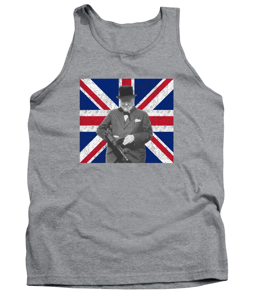 Winston Churchill Tank Top featuring the painting Winston Churchill And His Flag by War Is Hell Store