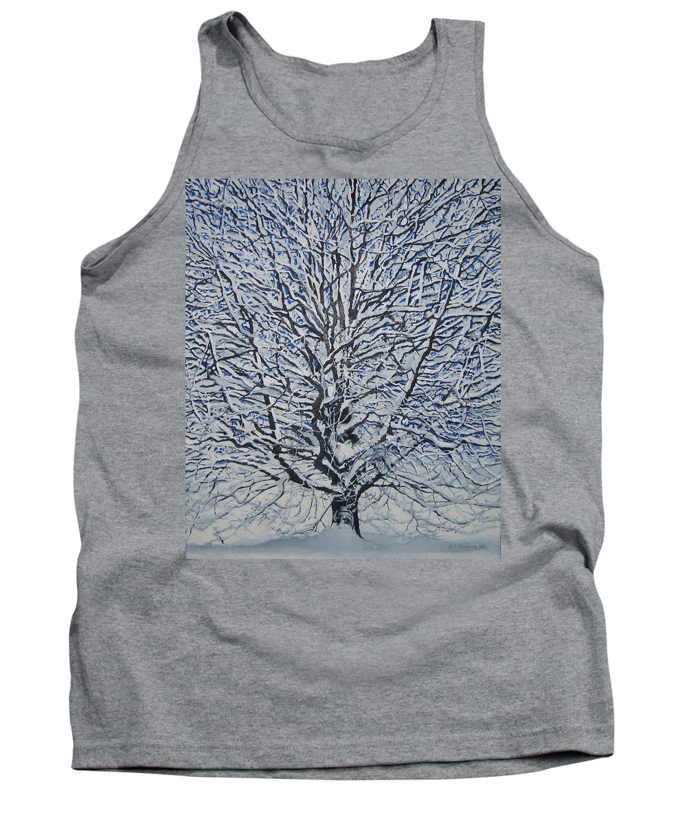 Winter Tank Top featuring the painting Winter '05 by Leah Tomaino
