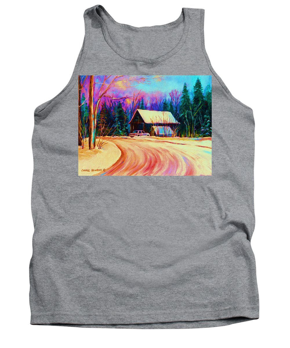 Landscape Tank Top featuring the painting Winter Getaway by Carole Spandau