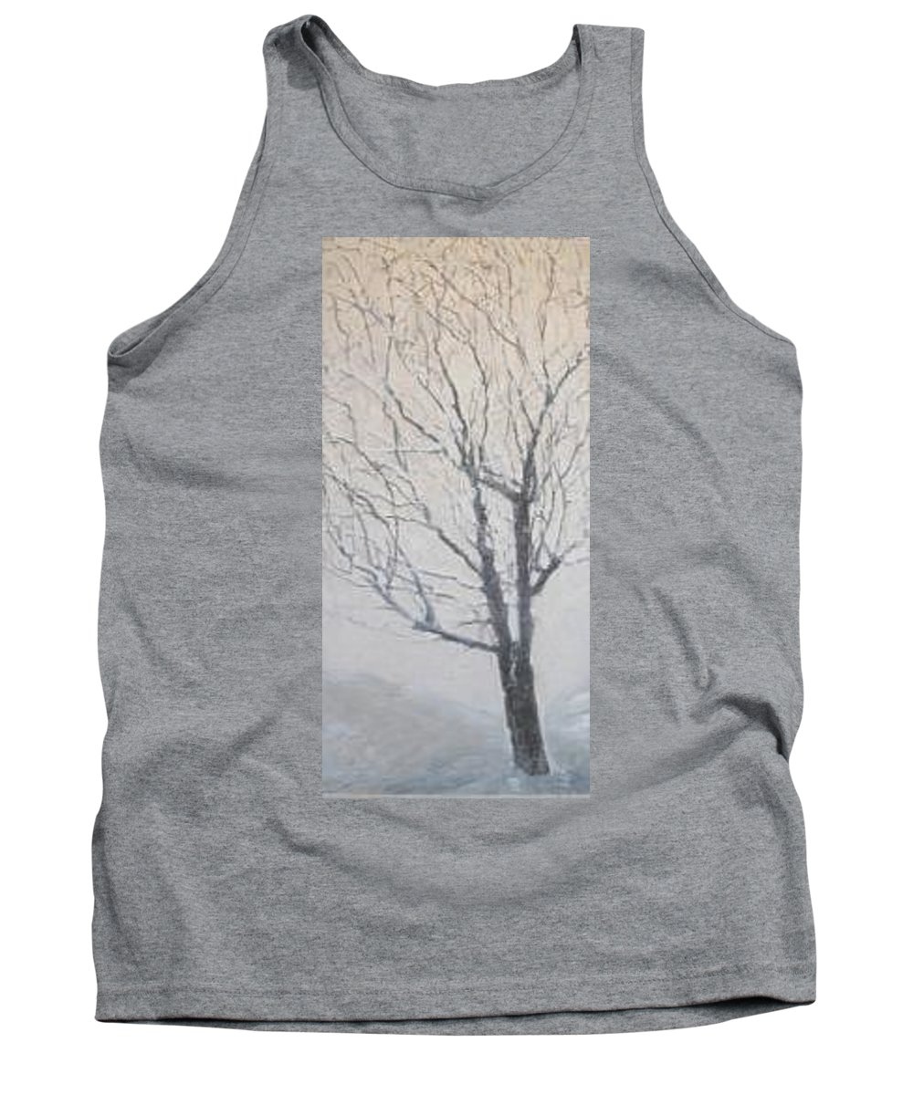 Tree Tank Top featuring the painting Winter by Leah Tomaino