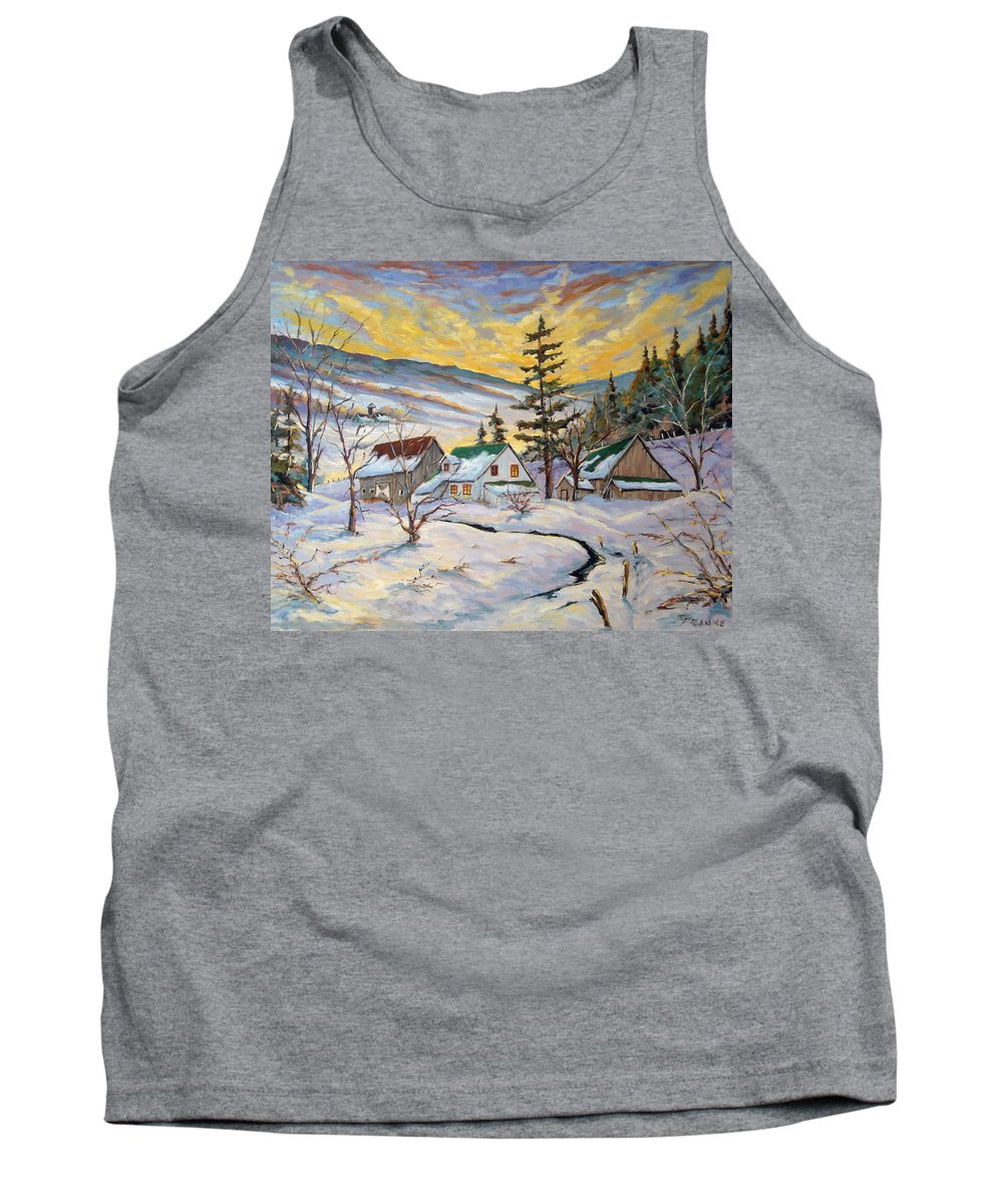 Landscape Tank Top featuring the painting Winter Lights by Richard T Pranke