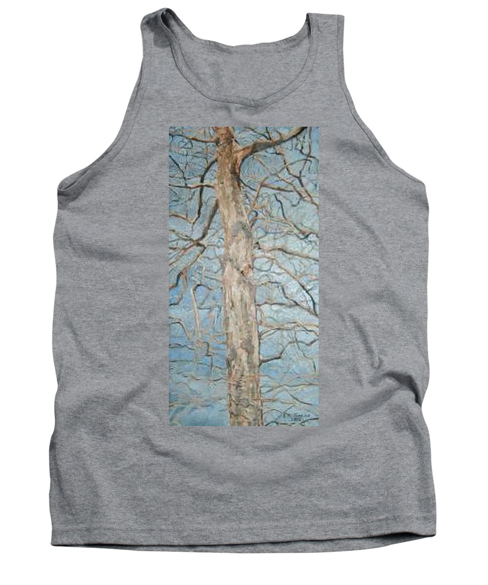 Tree Tank Top featuring the painting Winter Morning by Leah Tomaino