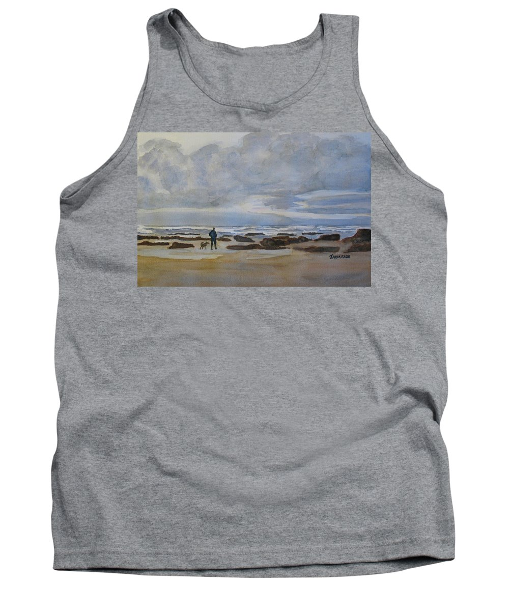 Beach Tank Top featuring the painting Winter Morning Solitude II by Jenny Armitage