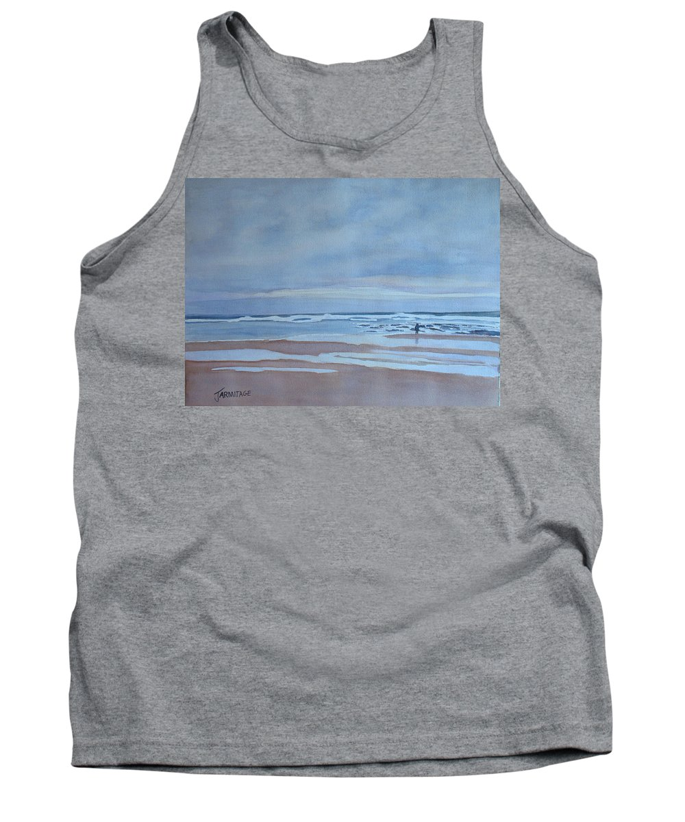 Ocean Tank Top featuring the painting Winter Morning Solitude by Jenny Armitage