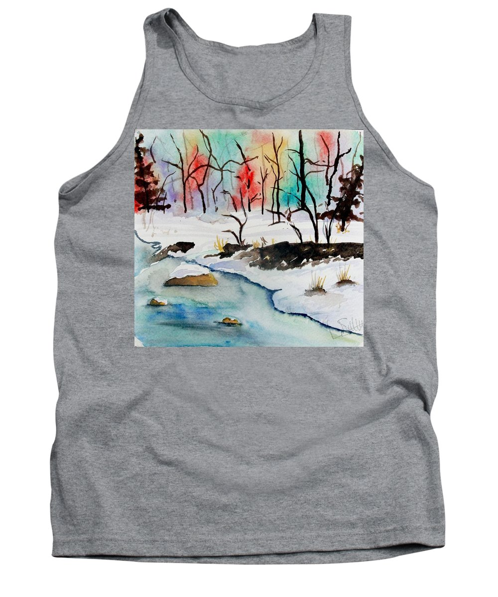 Colors Tank Top featuring the painting Winter Stream by Jimmy Smith