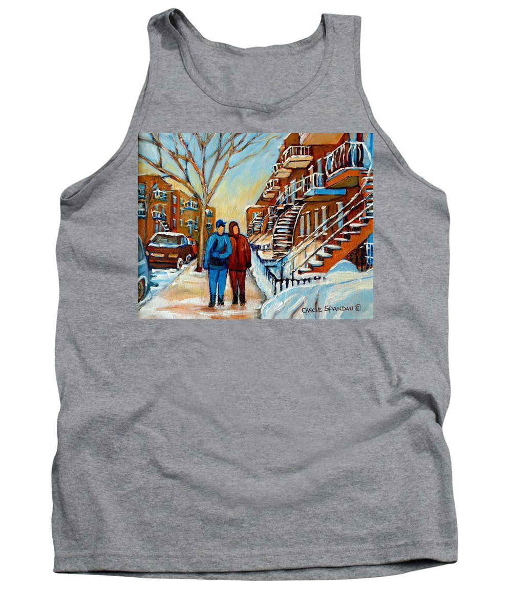 Montreal Tank Top featuring the painting Winter Walk In Montreal by Carole Spandau