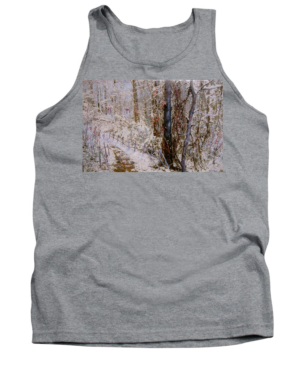 Snow; Trees Tank Top featuring the painting Winter Wonderland by Ben Kiger