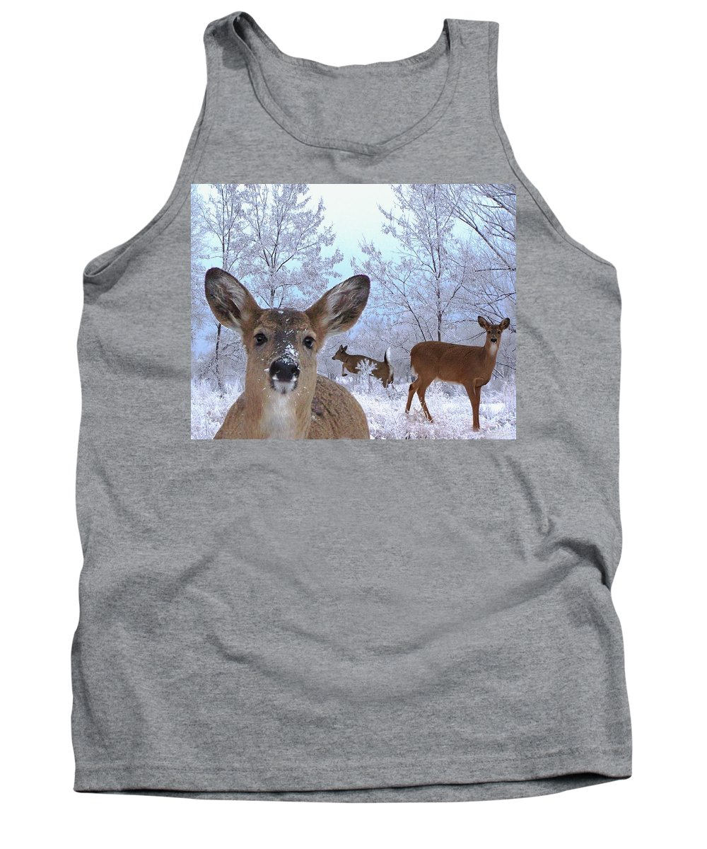Deer Tank Top featuring the mixed media Winter Wonderland by Bill Stephens