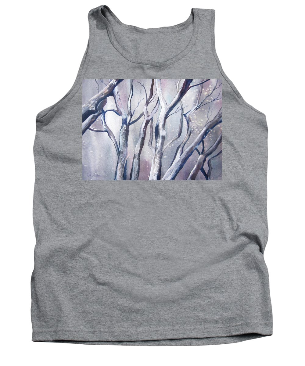 Landscape Tank Top featuring the painting Winter Woods by Pat Vickers