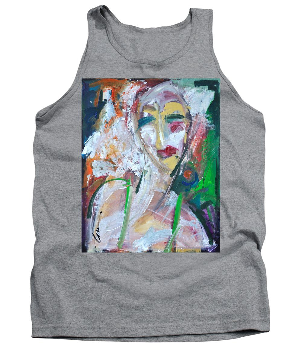 Jazz Tank Top featuring the painting Woman At The Jazz Club by Tim Nyberg