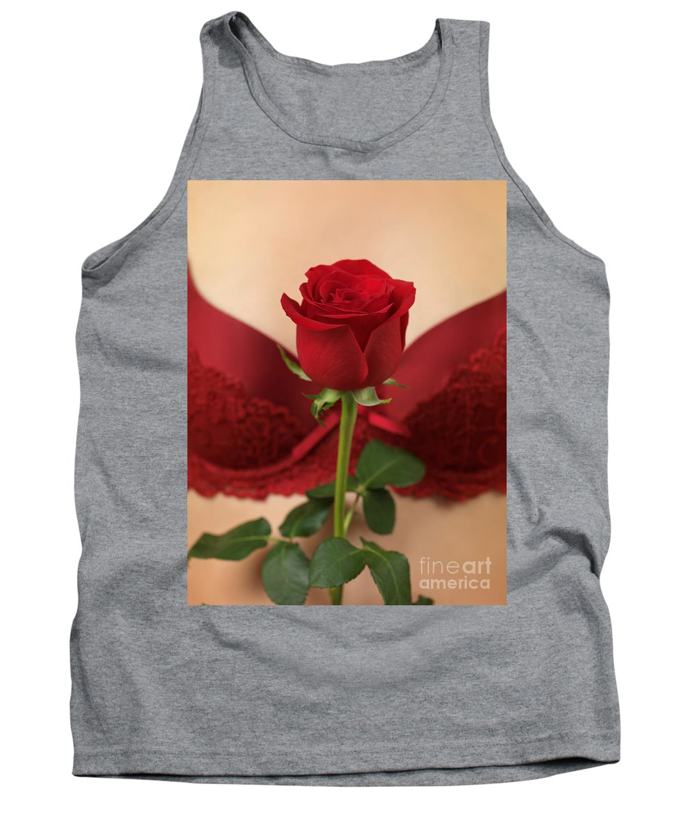 Rose Tank Top featuring the photograph Woman Holding A Red Rose by Oleksiy Maksymenko