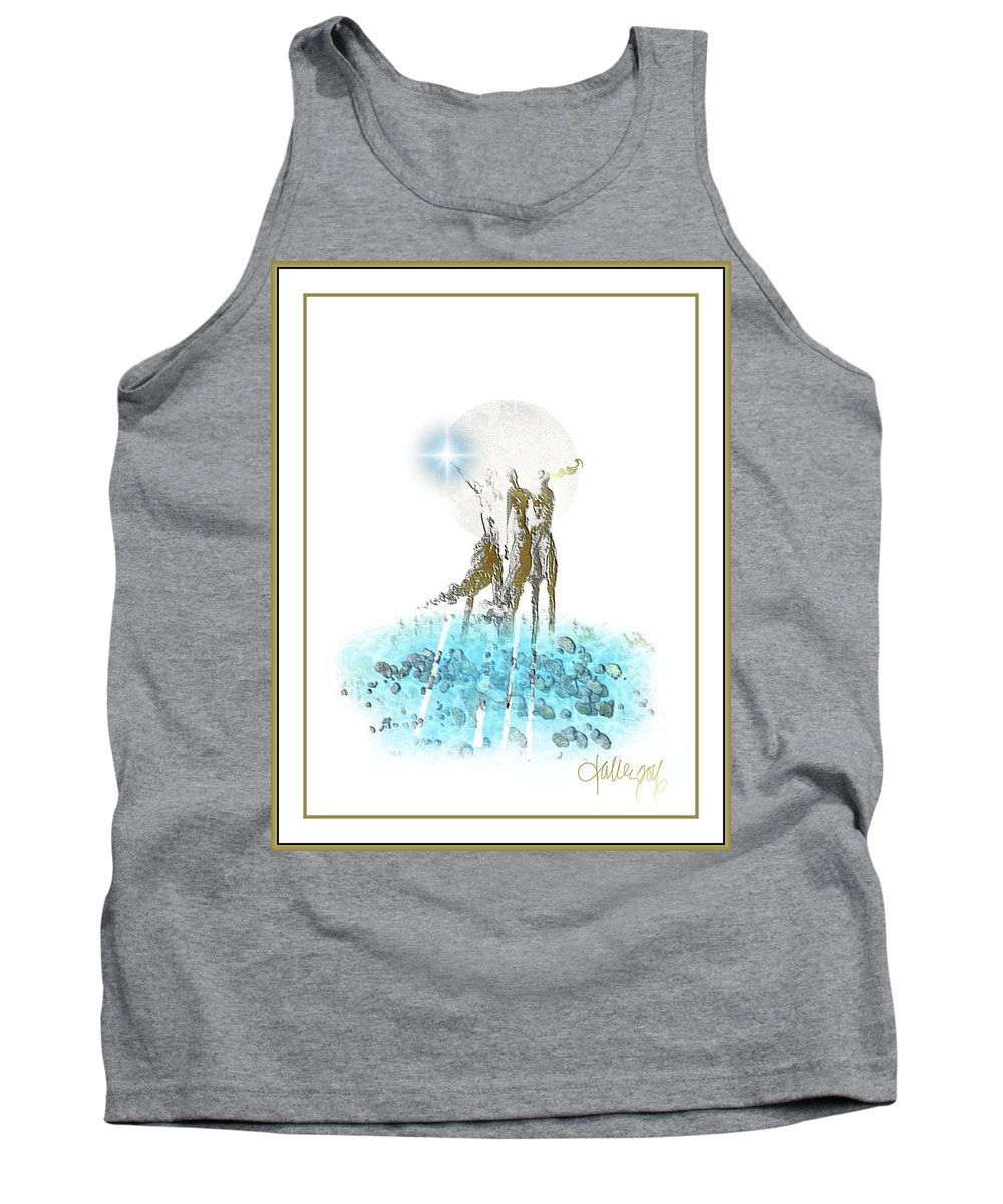 Tank Top featuring the mixed media Women Chanting - Perigean Tide Offering by Larry Talley