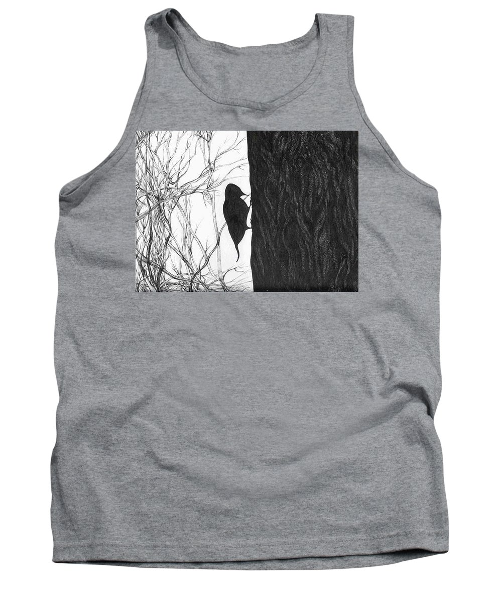 Pen And Ink Tank Top featuring the drawing Woodpecker by Anna Duyunova