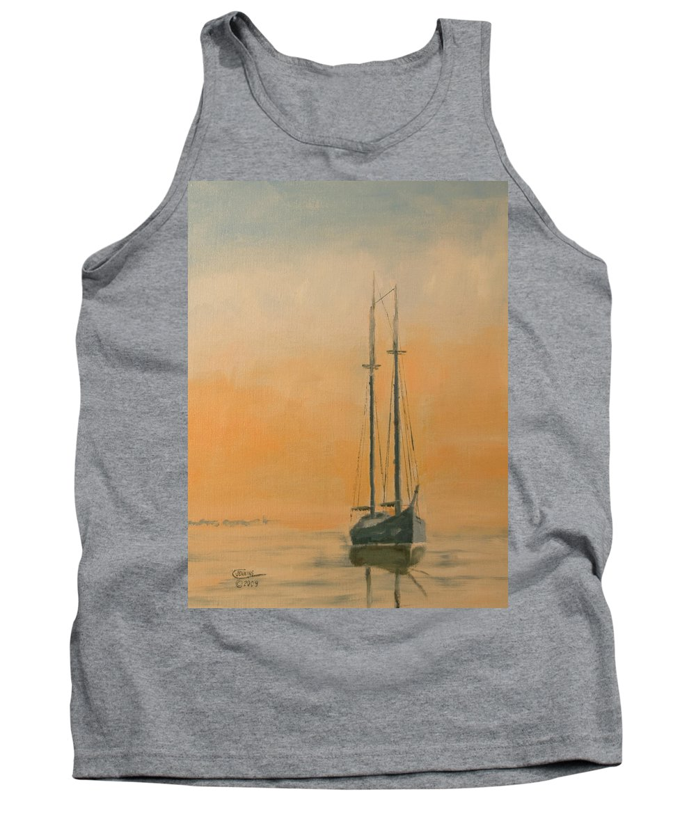 Boat Tank Top featuring the painting Work Boat At Rest by Christopher Jenkins