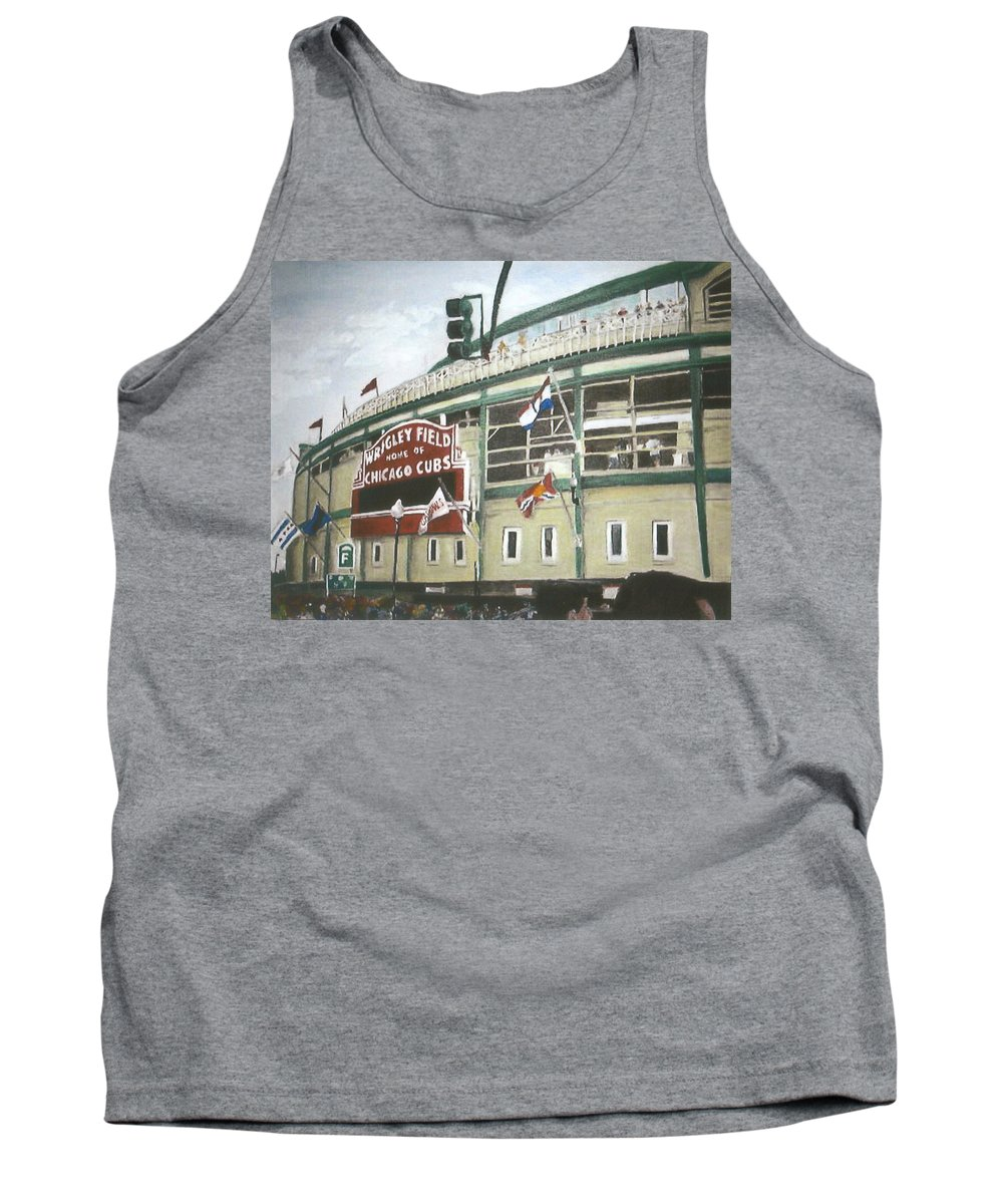 Wrigley Field Tank Top featuring the painting Wrigley Field by Travis Day