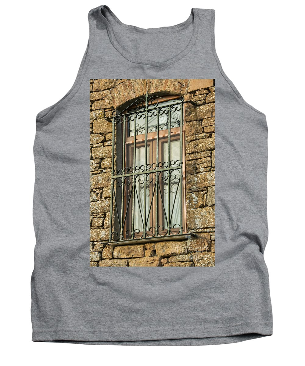 Zeytinli Tank Top featuring the photograph Wrought Iron - Glass - Stone by Bob Phillips