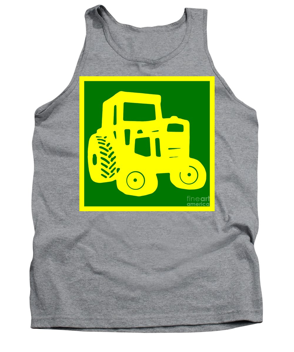 Tractor Tank Top featuring the photograph Yellow And Green Emblem Design by Edward Fielding