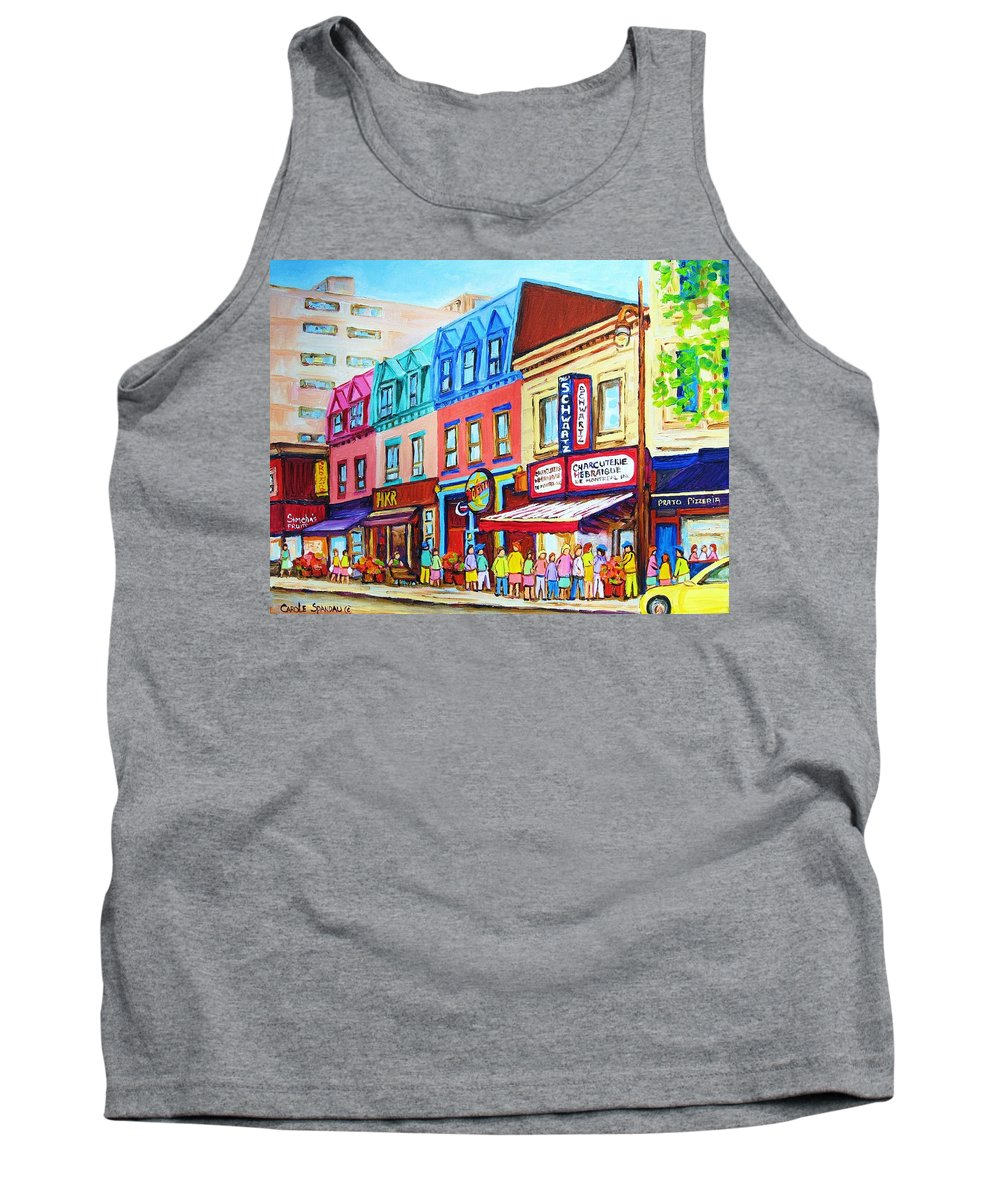 Reastarant Tank Top featuring the painting Yellow Car At The Smoked Meat Lineup by Carole Spandau