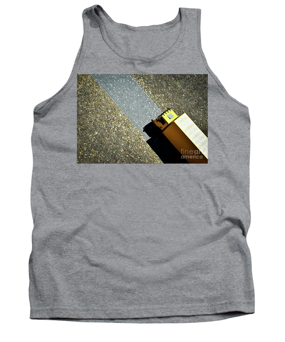 Yellow Tank Top featuring the photograph Yellow Car On The Stone Pavement by Jozef Jankola