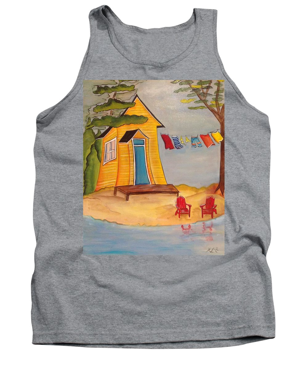 Abstract Tank Top featuring the painting Cabin Fever by Heather Lovat-Fraser