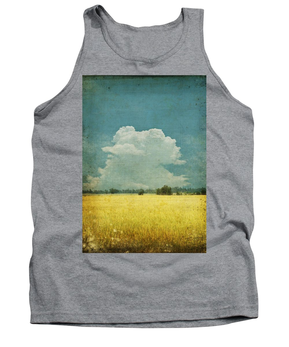 Abstract Tank Top featuring the photograph Yellow field on old grunge paper by Setsiri Silapasuwanchai