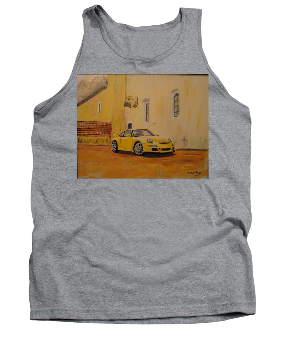 Car Tank Top featuring the painting Yellow Gt3 Porsche by Richard Le Page