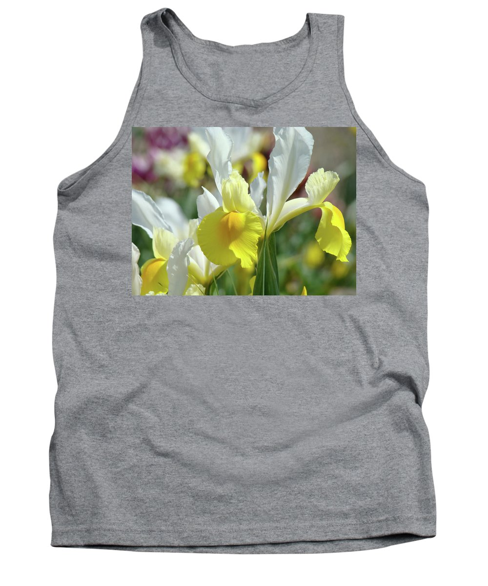 �irises Artwork� Tank Top featuring the photograph Yellow Irises Flowers Iris Flower Art Print Floral Botanical Art Baslee Troutman by Baslee Troutman