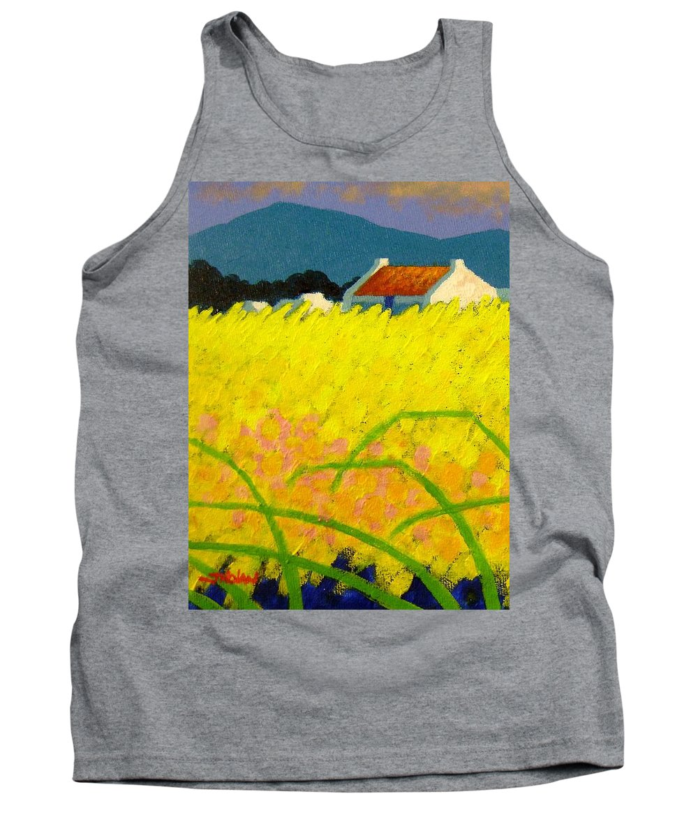 Irish Landscape Tank Top featuring the painting yellow Meadow Ireland by John Nolan