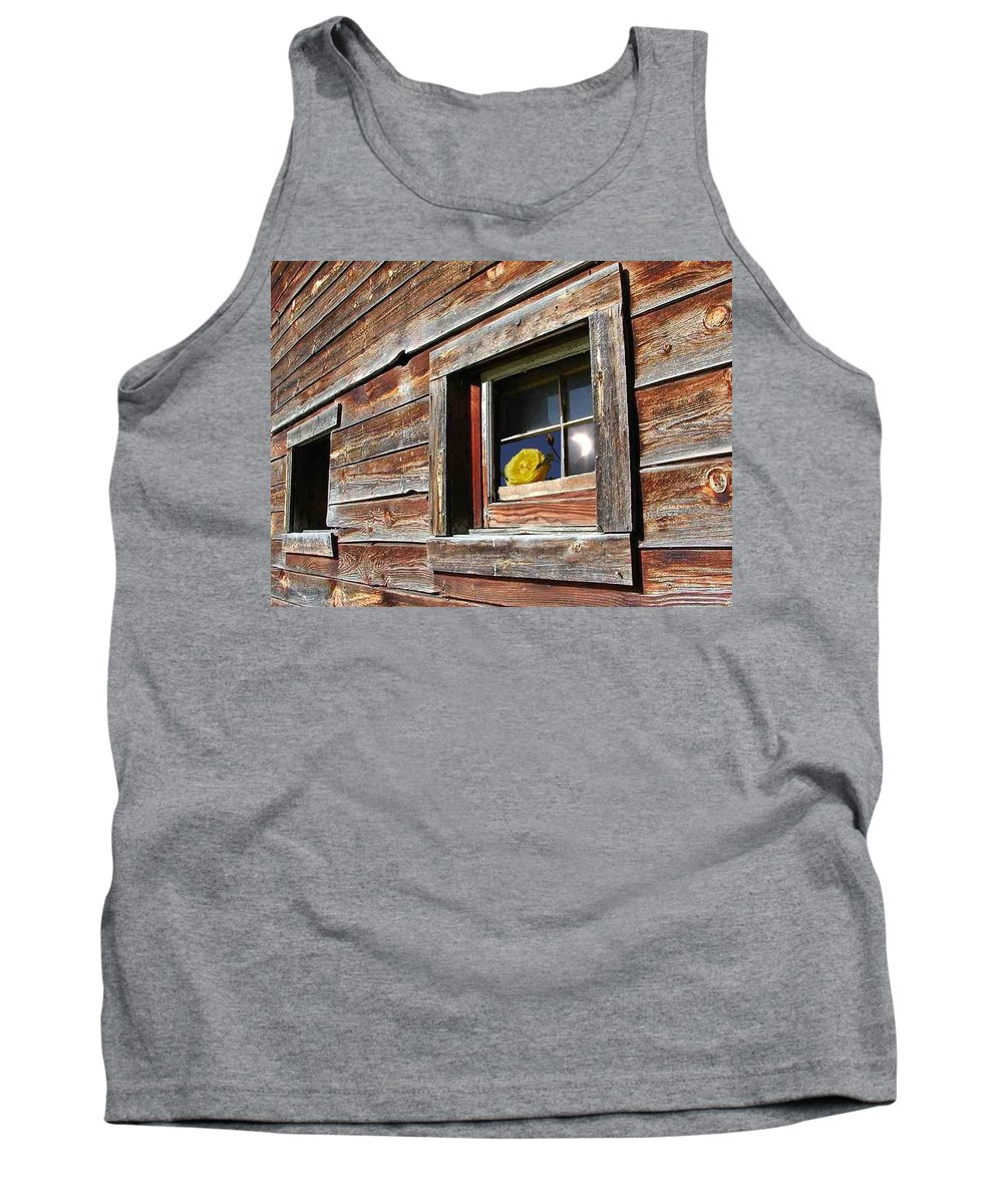 Barn Tank Top featuring the digital art Yellow Rose Eclipse by Tim Allen