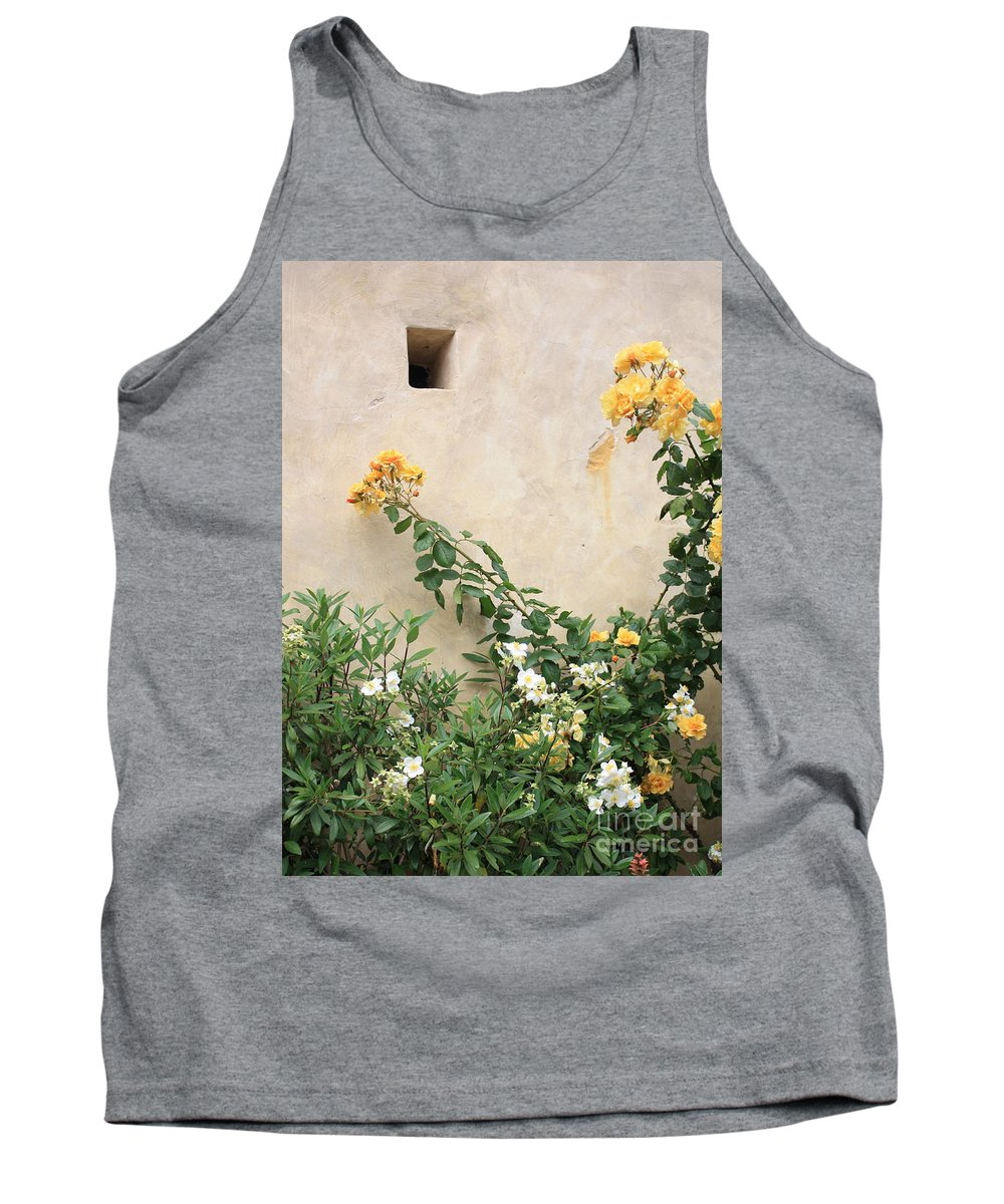 Yellow Roses Tank Top featuring the photograph Yellow Roses And Tiny Window At Carmel Mission by Carol Groenen