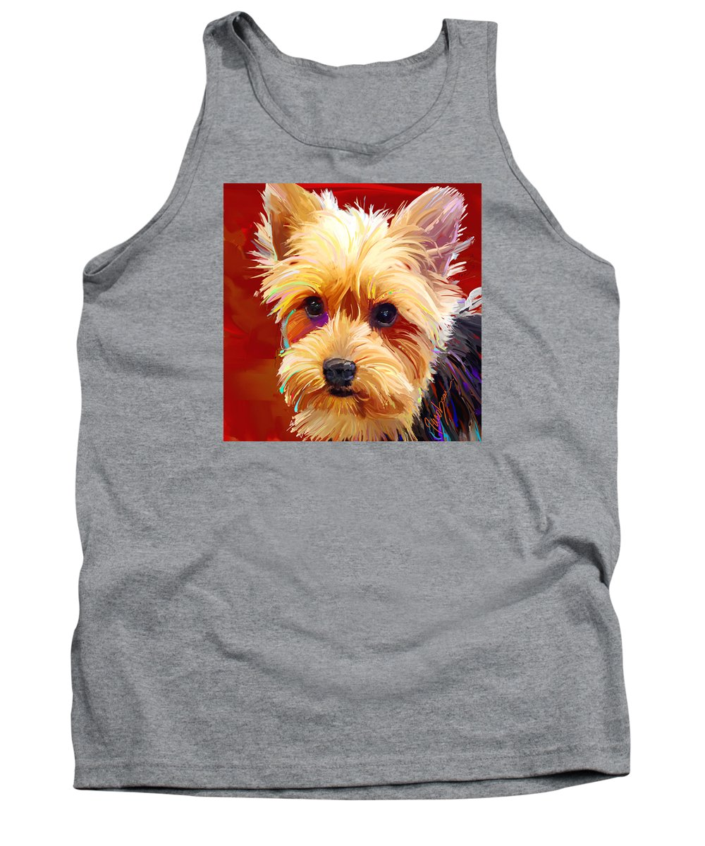 Yorkie Tank Top featuring the painting Yorkie 1 by Jackie Jacobson