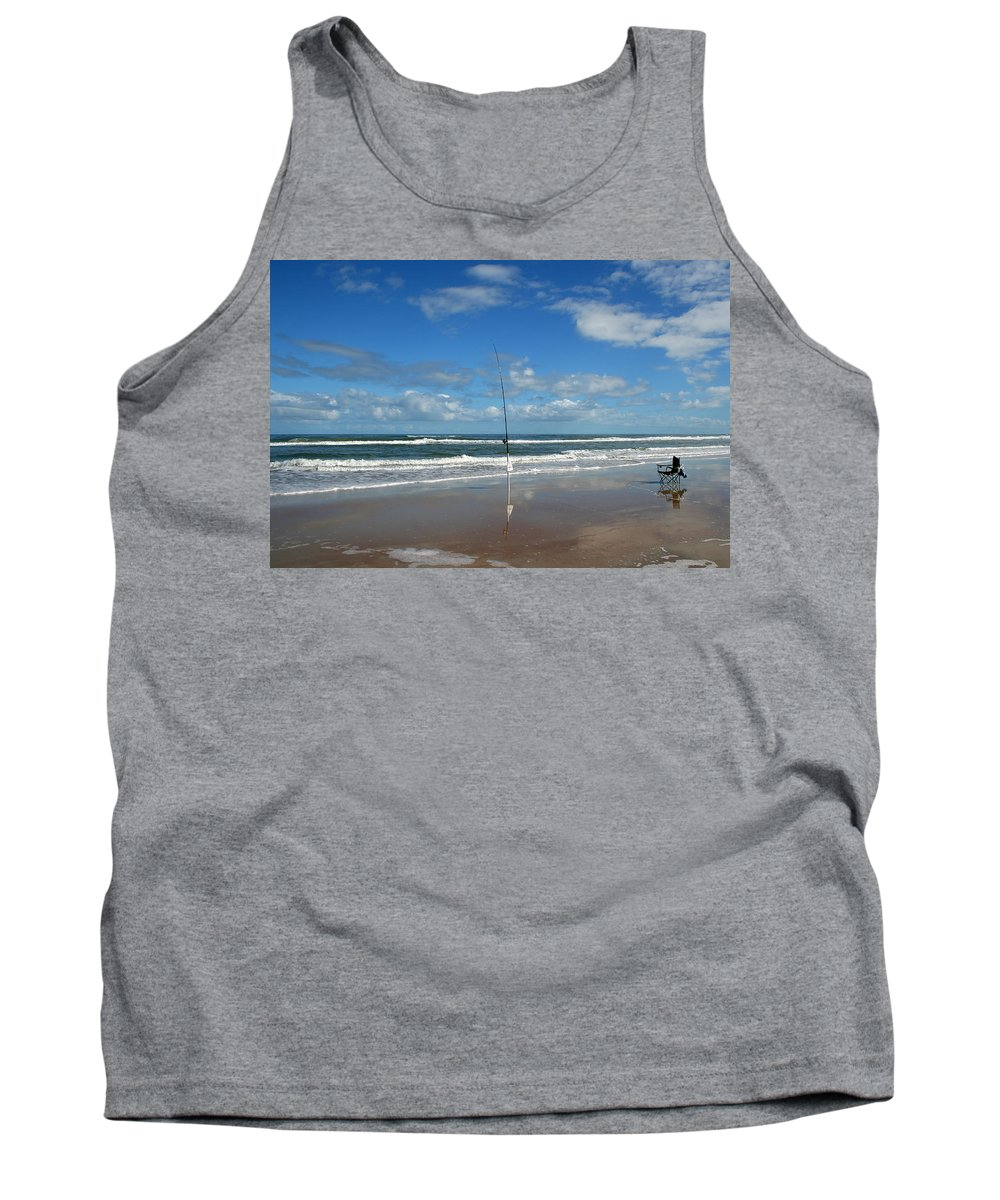Fish Fishing Vacation Beach Surf Shore Rod Pole Chair Blue Sky Ocean Waves Wave Sun Sunny Bright Tank Top featuring the photograph You Could Have Been There by Andrei Shliakhau