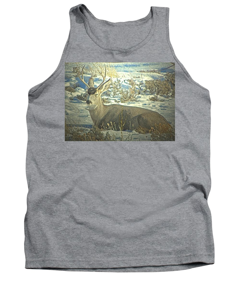Abstract Tank Top featuring the photograph Young Buck Resting by Lenore Senior