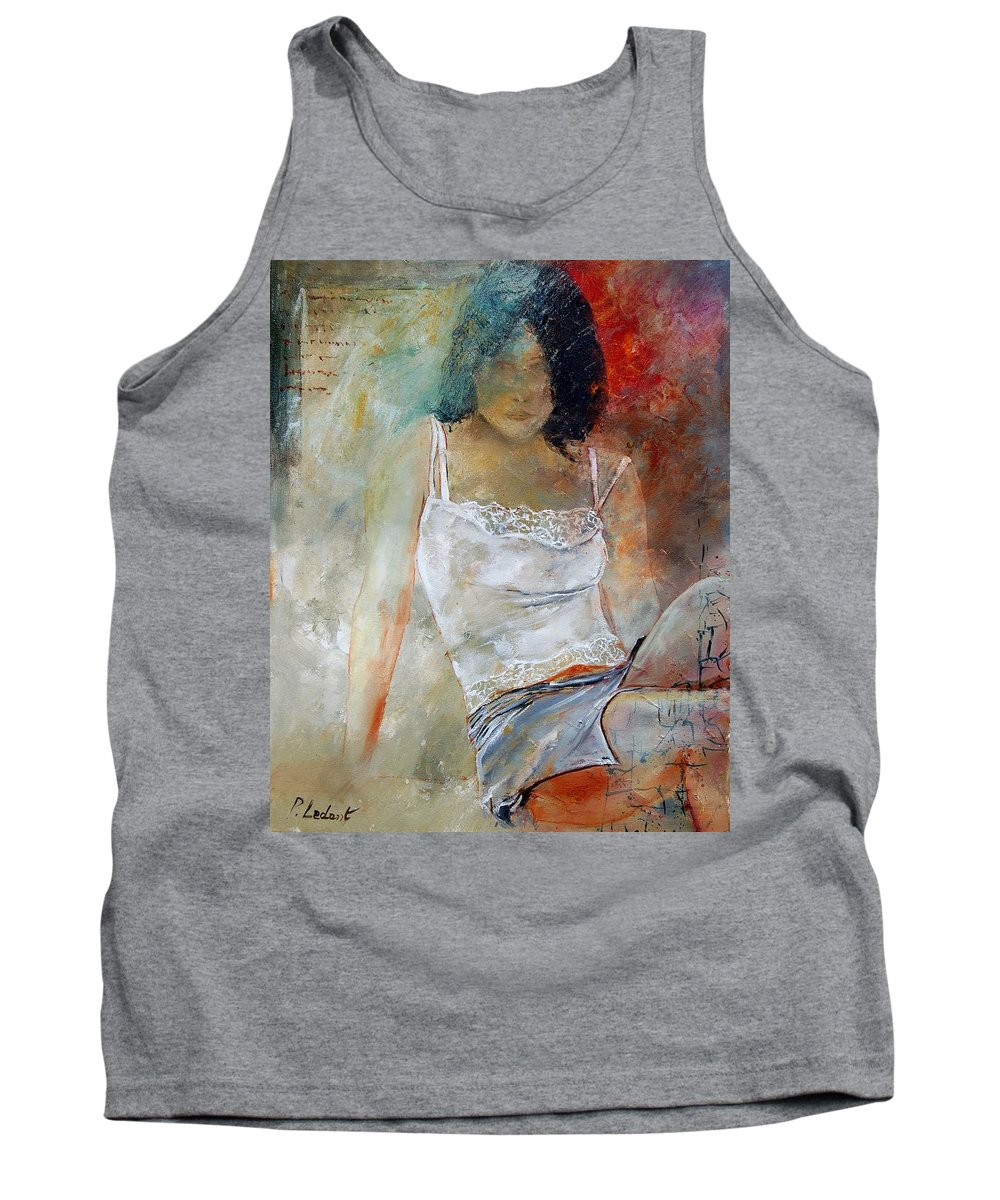 Nude Tank Top featuring the painting Young Girl Sitting by Pol Ledent