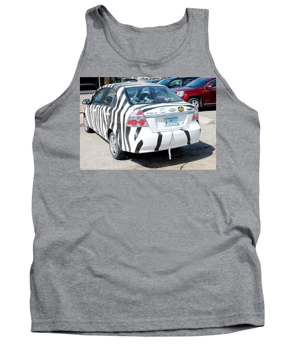 Car Tank Top featuring the photograph Zebra Car Rear by Wayne Williams
