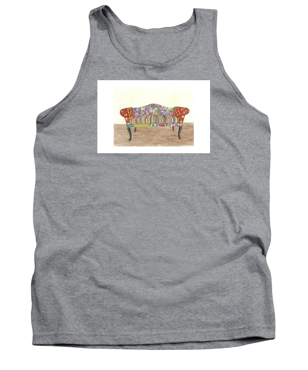 Sofa Tank Top featuring the painting Zentangle Sofa by Patricia Voelz