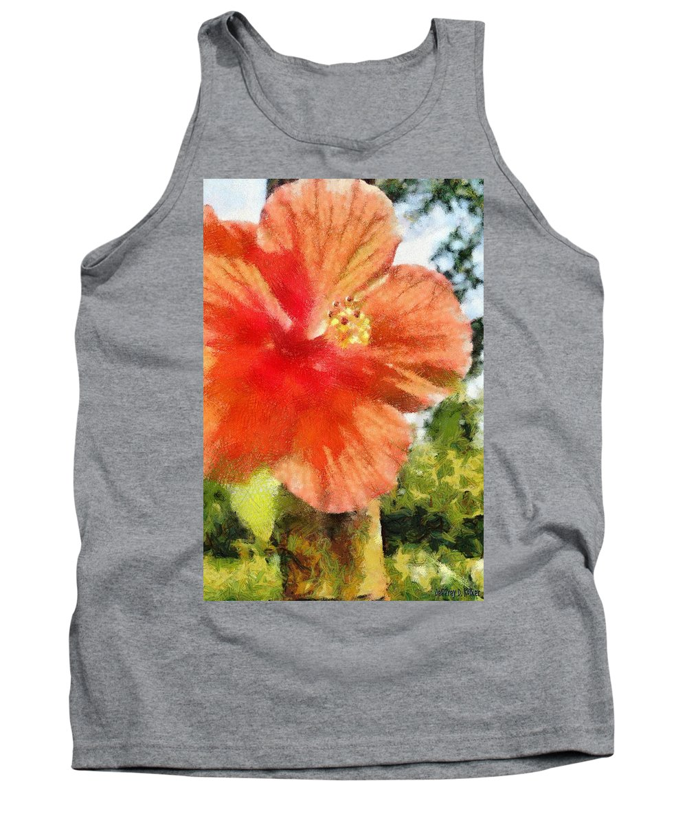 Zoo Tank Top featuring the painting Zoo Flower by Jeffrey Kolker