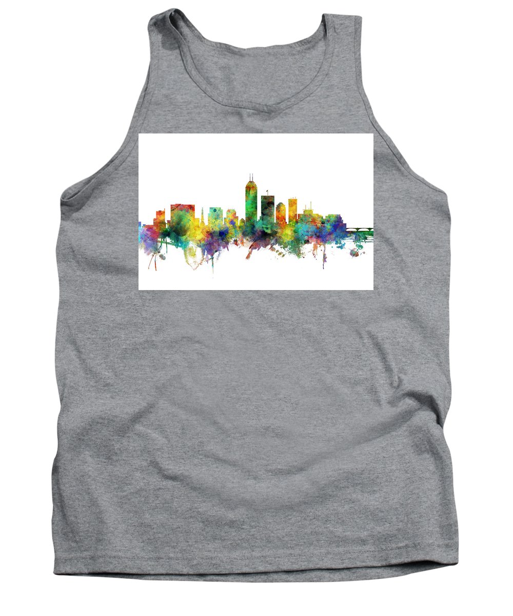 Indianapolis Tank Top featuring the digital art Indianapolis Indiana Skyline by Michael Tompsett
