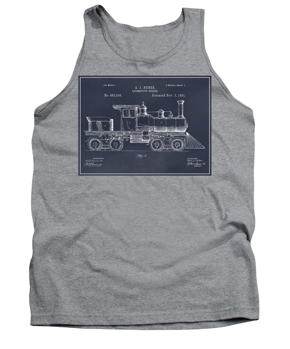 1891 Huber Locomotive Engine Patent Print Tank Top featuring the drawing 1891 Huber Locomotive Engine Blackboard Patent Print by Greg Edwards