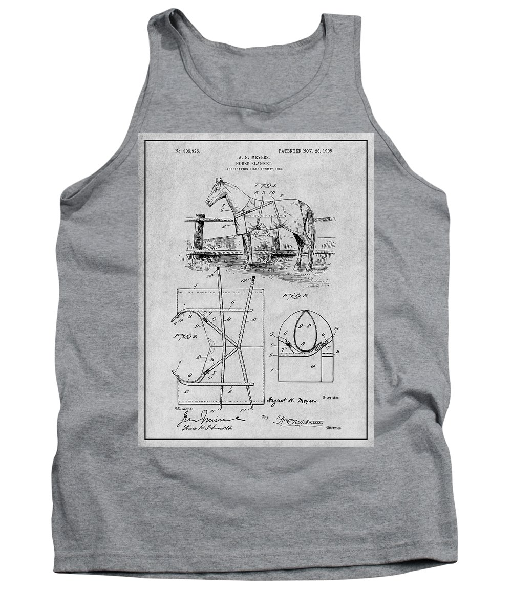 Art & Collectibles Tank Top featuring the drawing 1905 Horse Blanket Patent Print Gray by Greg Edwards