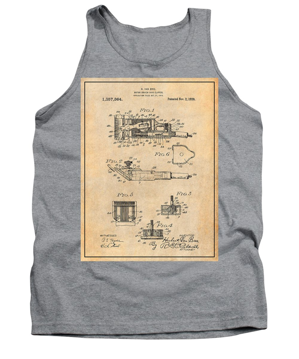 1919 Motor Driven Hair Clipper Patent Print Tank Top featuring the drawing 1919 Motor Driven Hair Clipper Antique Paper Patent Print by Greg Edwards