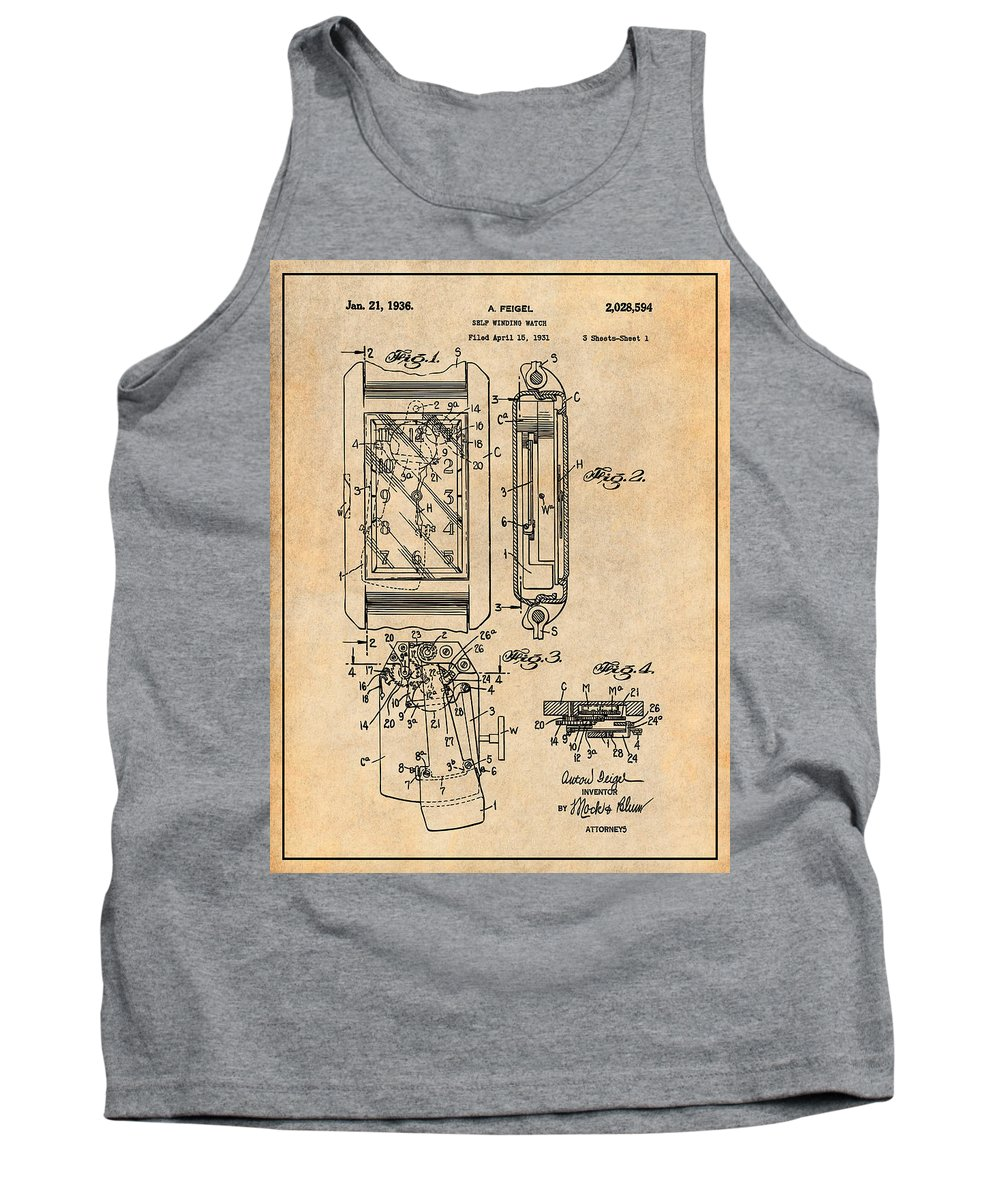 Art & Collectibles Tank Top featuring the drawing 1931 Self Winding Watch Patent Print Antique Paper by Greg Edwards