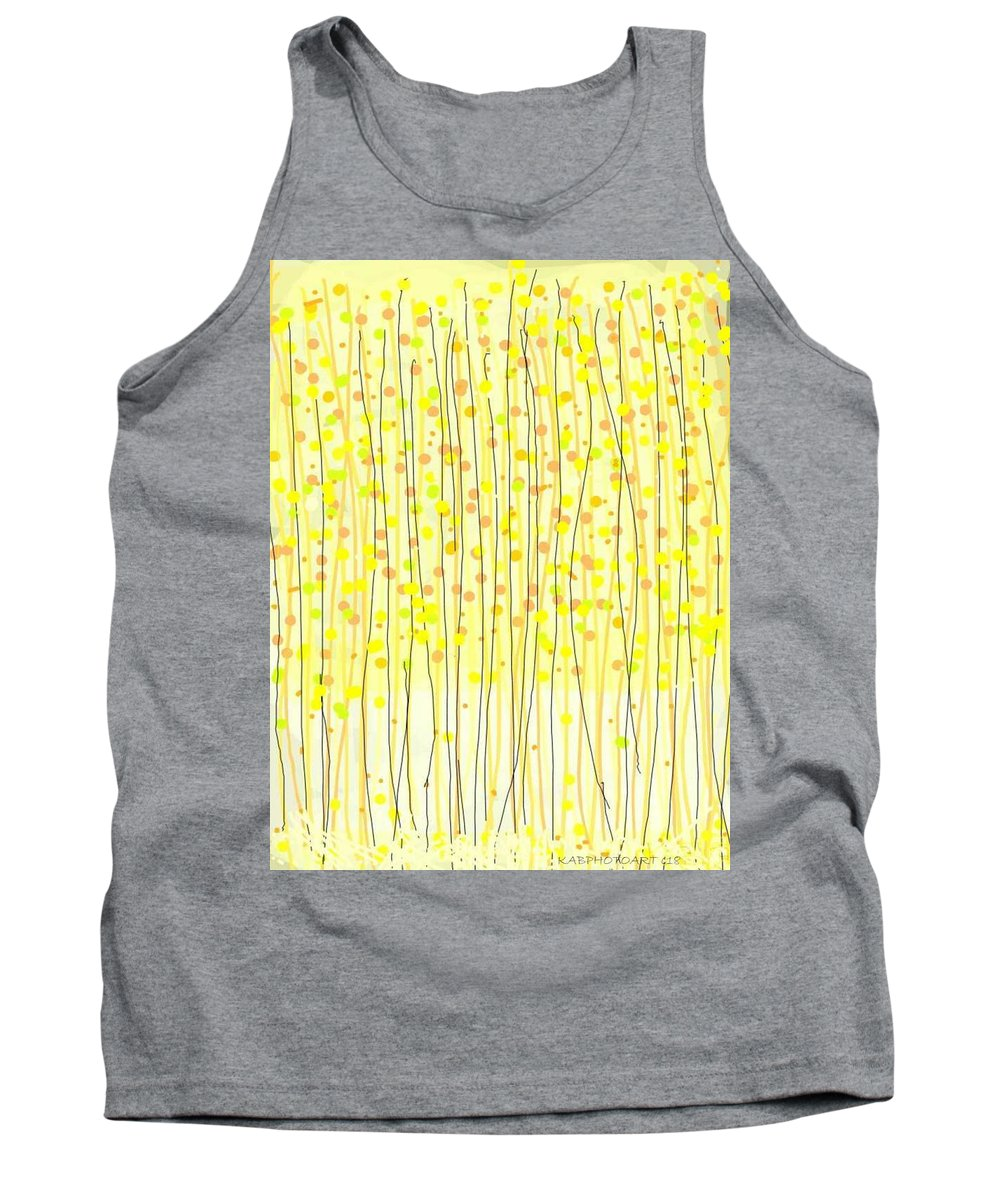 Drawing Tank Top featuring the drawing Autumn Aspens by Kathy Barney