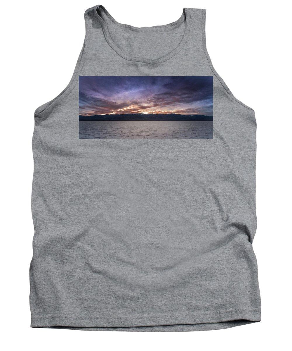 Death Tank Top featuring the photograph Badwater Basin Salt Flats Death Valley California by Steve Gadomski