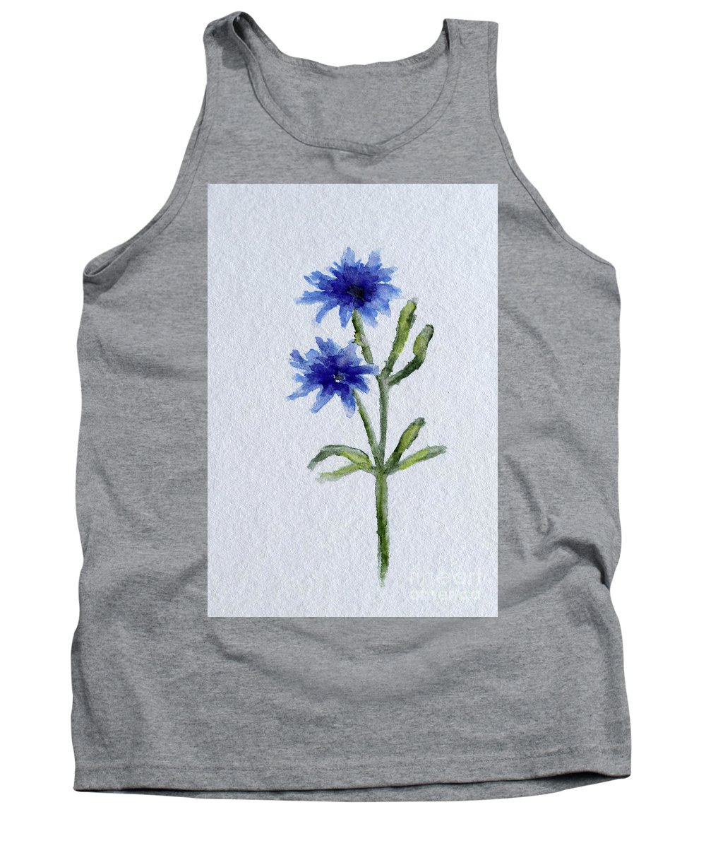 Wildflower Painting Tank Top featuring the painting Cornflower by Christiane Schulze Art And Photography