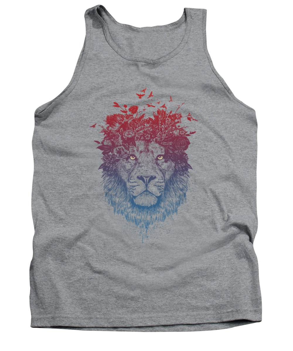 Lion Tank Top featuring the drawing Floral Lion IIi by Balazs Solti